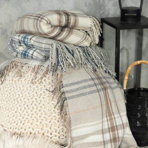 Decken und Plaids aus Merinowolle und Kaschmir